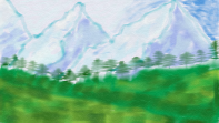 Digital painting of Blue Mountains