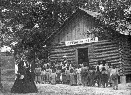 Children standing outside of Freedman's school for children